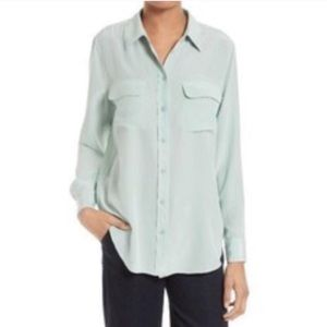 Equipment Mint Green Button Down Blouse Size L